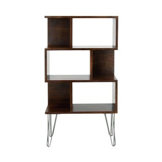 Sturdy Modern Asymmetrical Wood and Metal Bookshelf