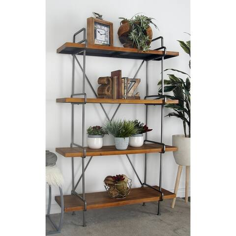 Industrial 4-Tier Fir Wood and Iron Shelf by Studio 350