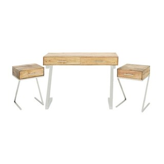 Charming Stainless Steel Wood Console Set Of Three