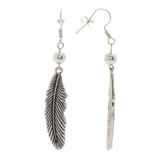 Mayan Series SilverandPewter Carved Tribal Feather Design Hook Earrings