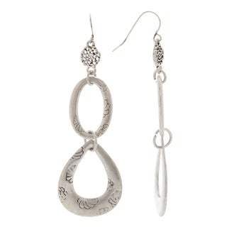 Mayan Series Silver and Pewter Hook Hammered Tribal Double-drop Design Earrings