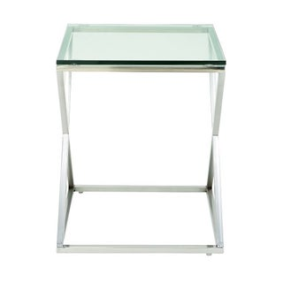 Studio 350 Stainless Steel Glass Side Table 20 inches wide, 25 inches high