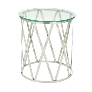 Amazing Stainless Steel Glass Accent Table