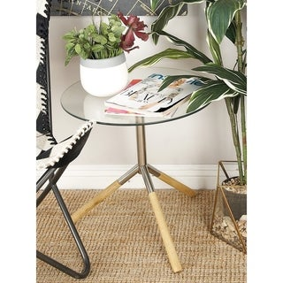 Benzara Stainless Steel and Wood and Glass Accent Table
