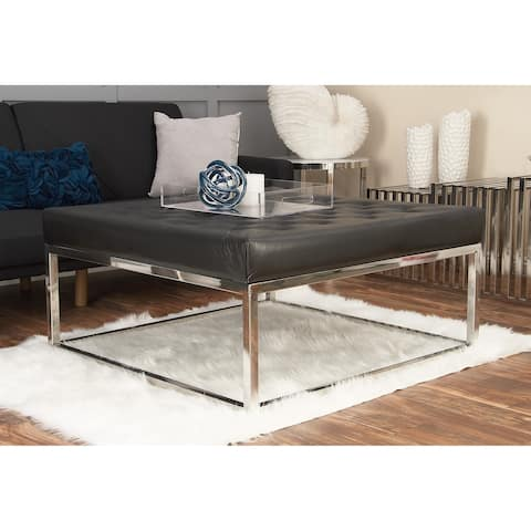 Modern 18 Inch Black Leather Cushioned Coffee Table by Studio 350