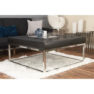 Studio 350 Stainless Steel Leather Coffee Table 40 inches wide, 18 inches high