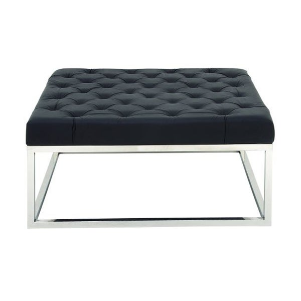 Striking Stainless Steel and Leather Coffee Table