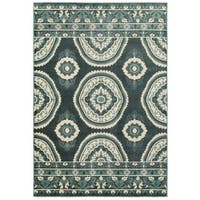 "New Traditions Blue/Ivory Nylon and Polypropylene Area Rug - 9'10"" x 12'10"""