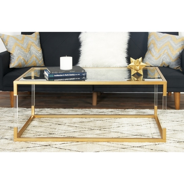"Shop 46"" X 19"" Acrylic, Metal And Glass Coffee Table By"