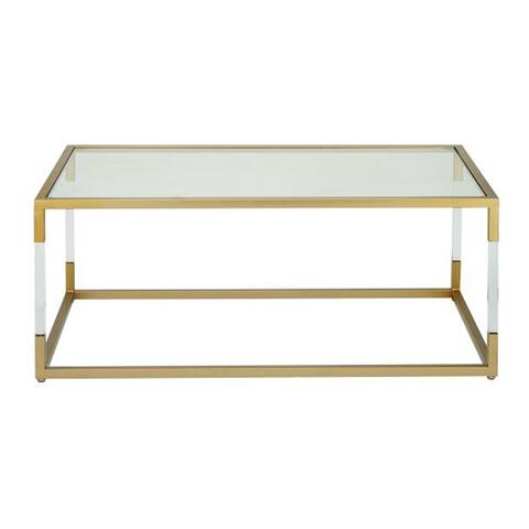 "46"" x 19"" Acrylic, Metal and Glass Coffee Table by Studio 350"