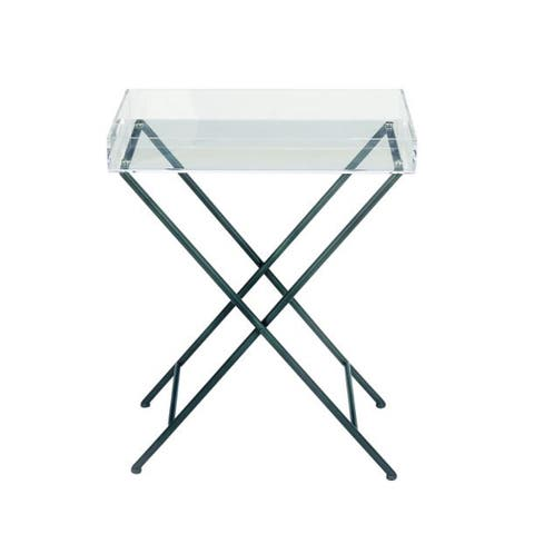 Contemporary 27 Inch Rectangular Acrylic Tray Table by Studio 350