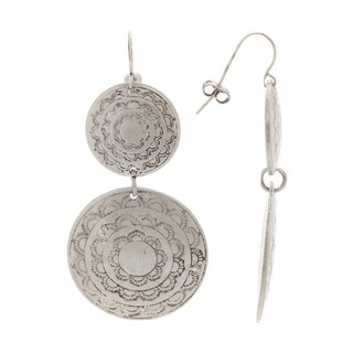 Mayan Series Double Drop Shield Design Silver and Pewter Hook Earrings