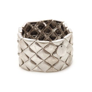 Mayan Series Silver and Pewter Solid Square Link Design Bangle