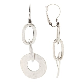 Mayan Series Silver and Pewter Solid Shaped Loop Design Hook Earrings