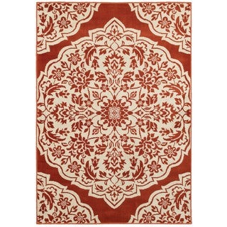 Two-tone Floral Medallion Rust/ Ivory Area Rug (9'10 x 12'10)