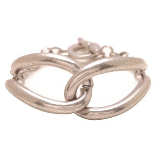 Mayan Series Silver and Pewter Solid Link Design No. 10 Interlock Infinity Bracelet