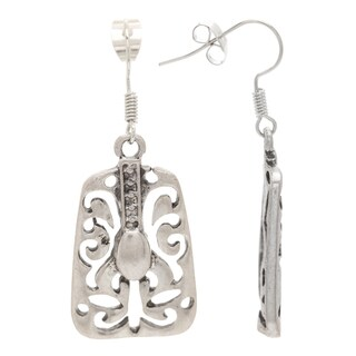 Mayan Series Carved Tribal Silver and Pewter Hook Earrings