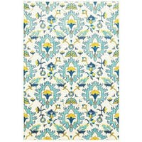 "Modern Floral Traditions Ivory/Blue Area Rug (9'10 X 12'10) - 9'10"" X 12'10"""