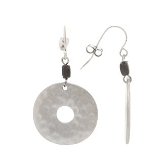 Mayan Series Hammered Silver and Pewter Loop-shaped Hook Earrings