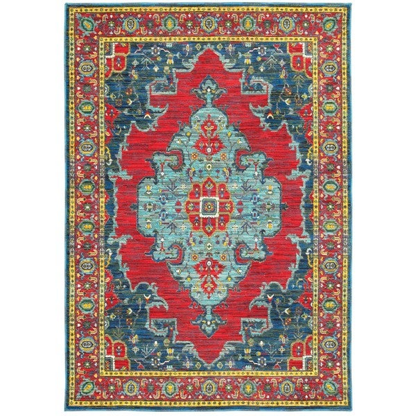 Old World inspired Blue Red Area Rug 9 10 x 12 10 Free