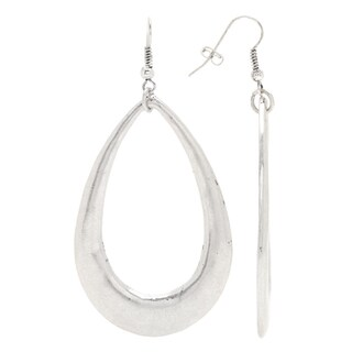 Mayan Series Silver and Pewter Teardrop Hook Earrings