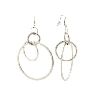 Mayan Series Silver and Pewter Hook Multi-loop Earrings