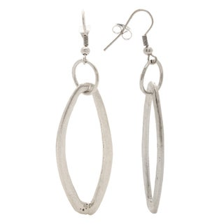 Mayan Series Abstra-carat Loop Design Silver and Pewter Hook Earrings