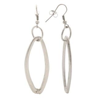 Mayan Series Abstra-carat Loop Design Silver and Pewter Hook Earrings