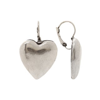Mayan Series Heart Design Large Silver and Pewter Hook Earrings with Matte Finish