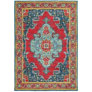 Style Haven Old World Inspired Blue/Red Area Rug (7'10 x 10'10)