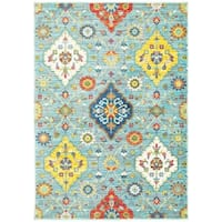 Gracewood Hollow Seale Floral Medallions Blue/Multi Area Rug - 9'10 x 12'10