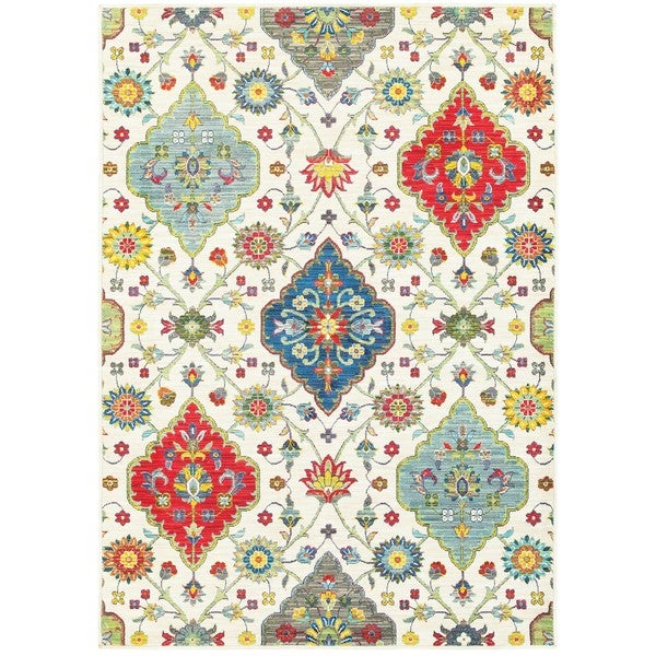 Style Haven Floral Medallions Ivory Multicolor