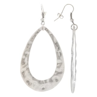 Mayan Series Women's Design No 1 Silver and Pewter Teardrop Hook Earrings