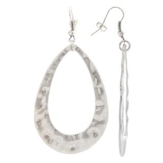 Mayan Series Women's Design No 1 Silver and Pewter Teardrop Hook Earrings
