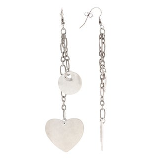 Mayan Series Dangle Heart Silver and Pewter Hook Earrings