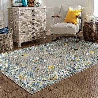 Distressed Traditional Grey/Yellow Polypropylene Area Rug (7'10 x 10'10)