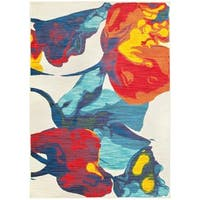 "Bold Abstract Floral Ivory/Multi Area Rug - 7'10"" x 10'10"""