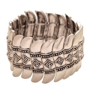 Mayan Series Silver and Pewter Hammered Tribal Bracelet