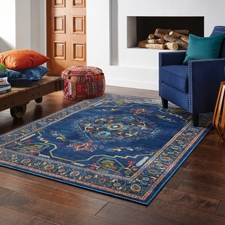 "Gracewood Hollow Spears Distressed Polypropylene Blue/MultiColor Area Rug - 9'10"" x 12'10"""