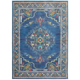 Old World Inspired Medallion Blue/Multi Area Rug (7'10 x 10'10)