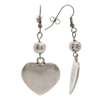 Mayan Series Silver and Pewter Heart Design Number 1 Large Hook Earrings