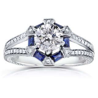 Annello by Kobelli 14k White Gold Certified Sapphire and 1 1/4ct TDW Diamond Eco-friendly Lab Grown Diamond Ring (G-H, SI2-I1)