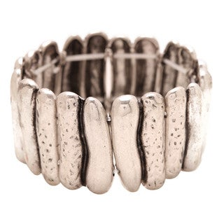 Mayan Series Unisex Ancient Tribal Design No 8 Hammered Silver and Pewter Bracelet