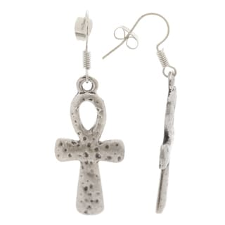 Mayan Series Silver and Pewter Gothic Cross Design Large Hook Earrings
