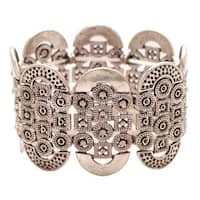 Mayan Series Silver and Pewter Ancient Tribal Design Hammered Bracelet