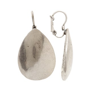 Mayan Series Waterdrop Design Silver and Pewter Large Hook Earrings