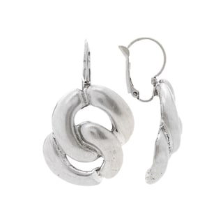 Mayan Series Silver and Pewter Interlocking Loop Design Hook Earrings