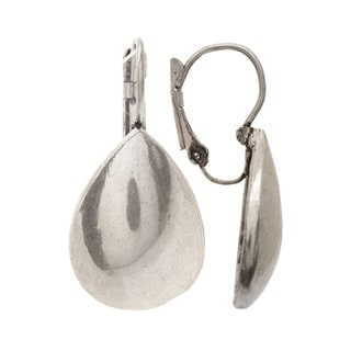 Mayan Series Silver and Pewter Medium Waterdrop-design Hook Earrings