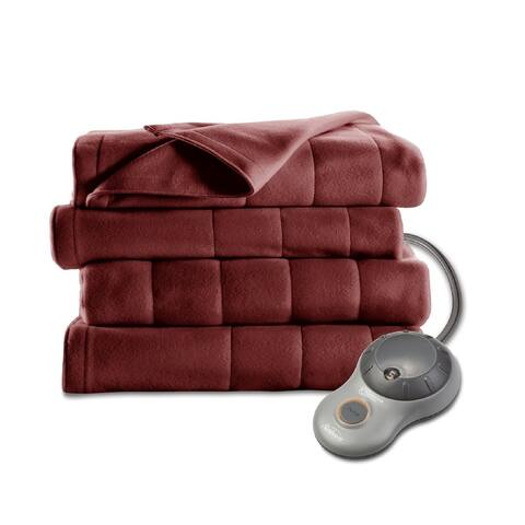 Sunbeam Quilted Fleece Heated Full Blanket, Garnet
