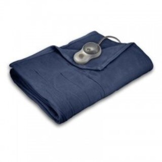 Sunbeam Quilted Fleece Heated Full Blanket, Newport Blue